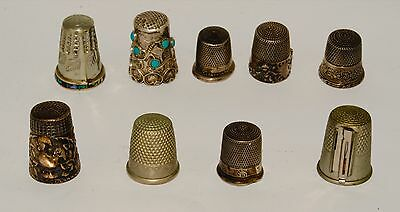 9 Thimbles 7 Sterling Silver Thimbles 2 NOT SILVER collectables SEE PHOTOS