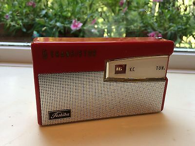Toshiba 6Tp 385A Transistor Shirt Pocket Radio-Red & White-Works!