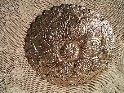Vintage Repousse' Sterling Plate Artist Crafted Round Hanging Mirror