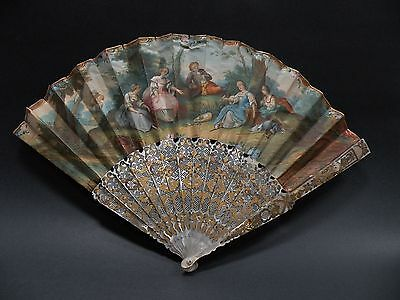 jbx1 ANTIQUE FAN, hand painted, gilded mother of pearl sticks, 18th-19th C