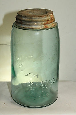 Ball M Masons Improved Patent 1858 Shoulder Seal 3-L Loop Undropped A Fruit Jar