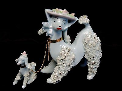 Vintage Blue Spaghetti Poodle Dog Figurine With Chain & Pup Gold Trim Japan