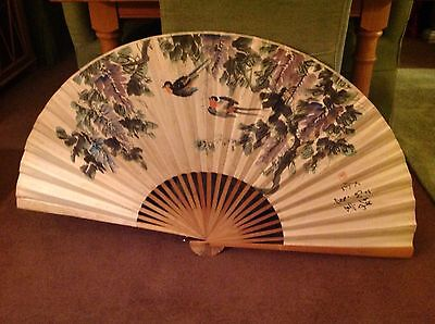 Large Traditional Hand Painted Chinese Fan