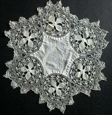 "ANTIQUE TENERIFE HAIRPIN LACE DOILY Victorian Intricate Handmade 9""  Vintage"