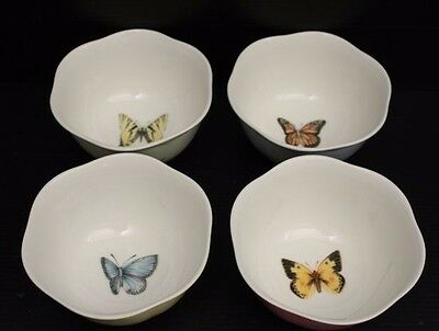 Set of 4 Multi-Colored LENOX BUTTERFLY MEADOW Fruit / Salad / Cereal Bowls ~ 2.5