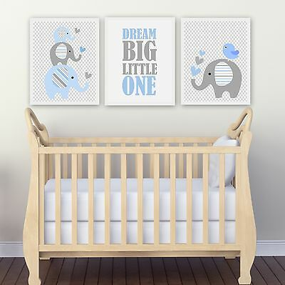 SALE On Now!Nursery Wall Art Print ~ Dream Big Light blue Elephants ~ 3 pce set