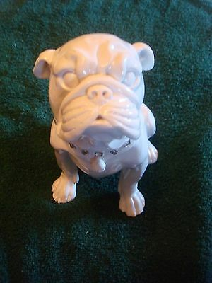 "NWT White Bulldog with Embellished Collar Statue 7 1/2"" Tall"