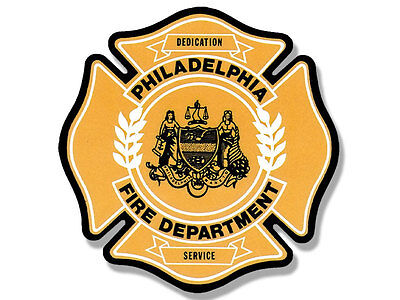 4x4 inch PHILADELPHIA FIRE DEPARTMENT Maltese Shaped Sticker - firefighter logo
