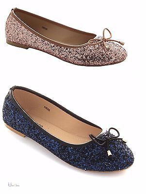 New Ladies Rose Gold Navy Flat Pumps Glitter  Ballerina Dolly Bridal Shoes Size