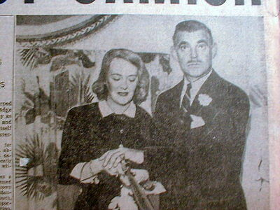 1949 newspaper with front page photo Movie Star CLARK GABLE MARRIES LADY ASHLEY