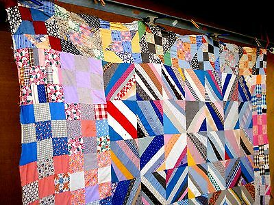Vintage early 1900's 1930's Nine patch Crazy Quilt Top