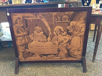 Gorgeous Antique Unique Primitive Tapestry Fireplace Screen