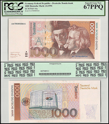 Germany 1,000 (1000) Deutsche Mark, 1991, P-44a, UNC, PCGS 67 PPQ