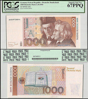 Germany 1,000 (1000) Deutsche Mark, 1993, P-44b, UNC, PCGS 67 PPQ
