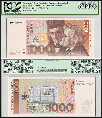 Germany 1,000 (1000) Deutsche Mark, 1993, P-44b, UNC, REPLACEMENT, PCGS 67 PPQ