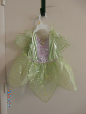 Girls Disney Green Tinkerbell Costume With Attached Wings Dress Up Halloween  2T