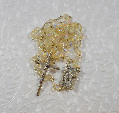 Our Lady of Lourdes Rosary Holy Water Reliquary Centerpiece Medal Faceted Beads