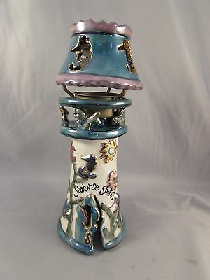 Blue Sky Clayworks Seahorse Shores Lighthouse Tea Light Candle Holder