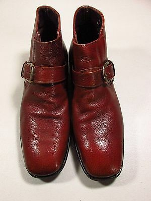 NUNN BUSH Men's Ankle Boots size 9 M Buckle Strap Brown Leather NICE