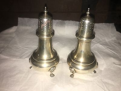"""B & M signed H51 sterling lion footed s & p shakers 7.2 oz 5"""" tall unweighted"""