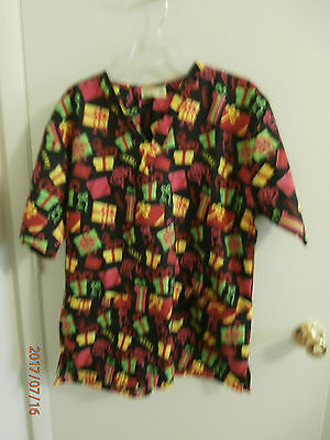 Woman's Christmas Present Scrub Top Scrubs Xl