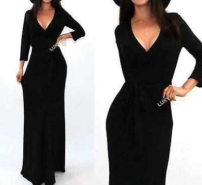 Gorgeous Black Solid 3/4 Sleeve Wrap Evening Cocktail Party Long Maxi Dress L