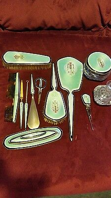 Exquisite 12 Pcs Foster & Bros Sterling Silver Guilloche Dresser Set