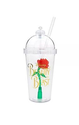 Disney Parks Beauty And The Beast Rose Light Up Souvenir Cup W/straw ~ New