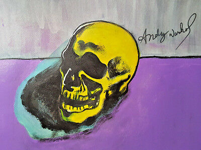 Andy Warhol,Skull Art, Original Drawing, Signed Painting, Acrylic Painting, Art