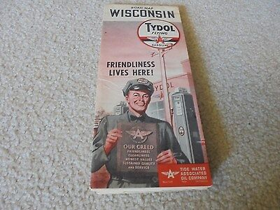 Vintage 1952 Tydol Flying A Gas Oil Service Station Wisconsin Road Map