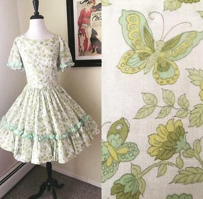 Vintage Square Dance Dress Ruffle Green Butterfly Floral Print full Skirt 50s M