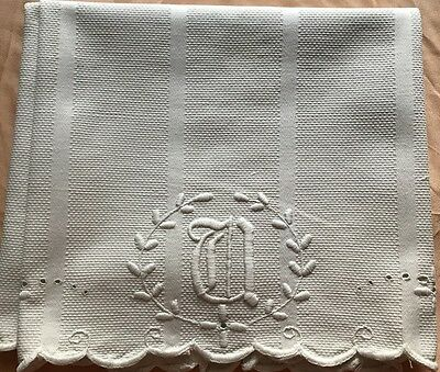 Edwardian Rough Damask Linen Tea Towel Gothic Monogram Padded Embroidery Scallop