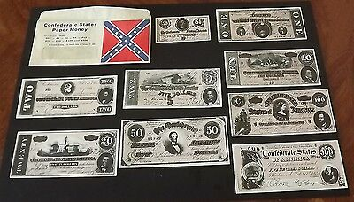 Vintage Confederate States America Paper PLAY Money Set of 9 Bills Excellent