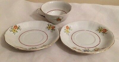 Coronation China Cup W/2 Saucers Floral Pattern Made in Japan