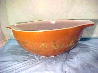 OLD Pyrex 4 qt. Brown Gold Early American  #444 VINTAGE nesting mixing bowl  #10
