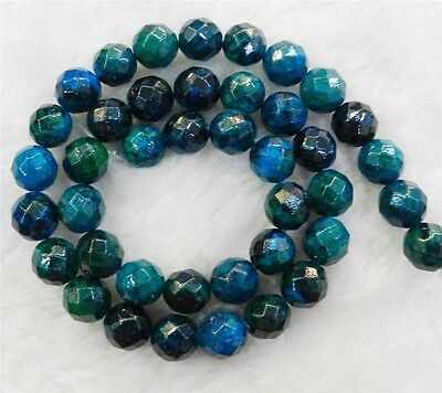 """6mm Faceted Azurite Chrysocolla Gemstones Round Loose Beads 15"""" JL61"""