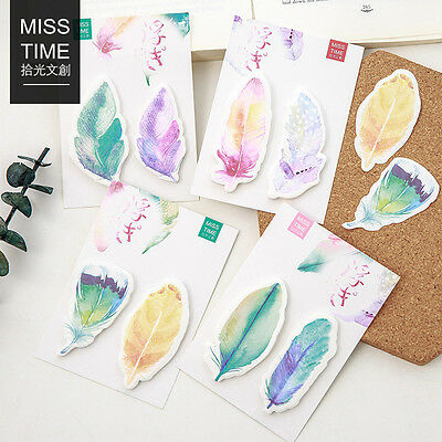 30 Sheets/pack Graceful Feathers Bookmarks Stickers Memo Pad Sticky Notes Pop