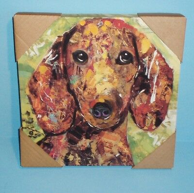 """Red Dachshund Wrapped Canvas Print  12"""" x 12"""""""