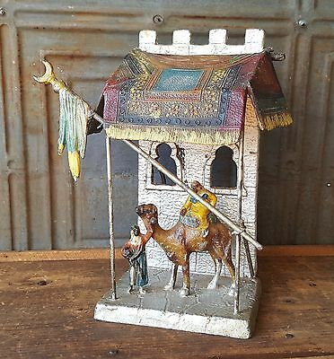 Antique Vintage Austrian Lamp Cold Painted Metal Arab Middle Eastern Rugs Camel
