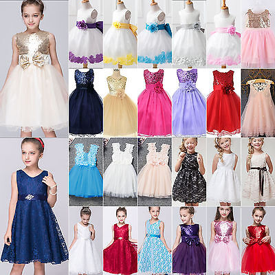 Flower Girl Princess Dress Kids Baby Party Wedding Pageant Formal Tutu Dresses