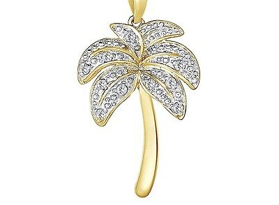 Diamond Palm Tree Pendant Necklace 18k Gold over Sterling Silver  (1/10 ct.)
