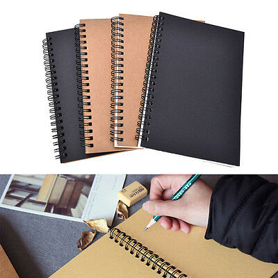 Reeves Retro Spiral Bound Coil Sketch Book Blank Notebook Kraft.Sketching Paper^