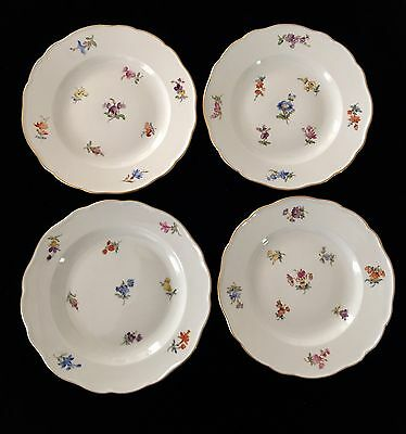 "Meissen Antique First Quality C1850 (4) Scattered Flowers B&b 6"" Plates Gilt Rim"