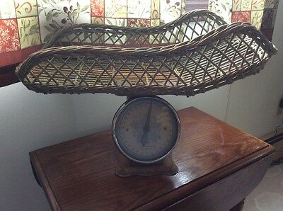 Vintage 30 lb. BABY SCALE WITH WICKER BASKET 1930s