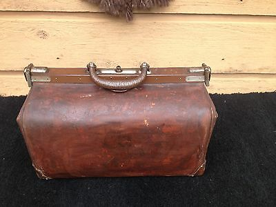 "antique leather doctors bag, 18"" long, heavy brown leather"