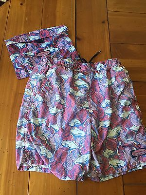 Vineyard Vines Boy's Print Chappy Swim Trunks Shorts & Bag Size Medium