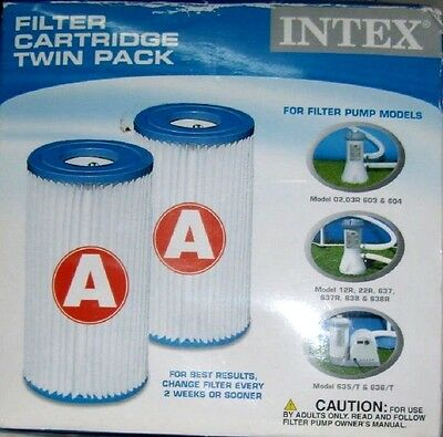 INTEX Twin Pack Cleaning Filter Cartridges for above ground Swimming Pool Type A