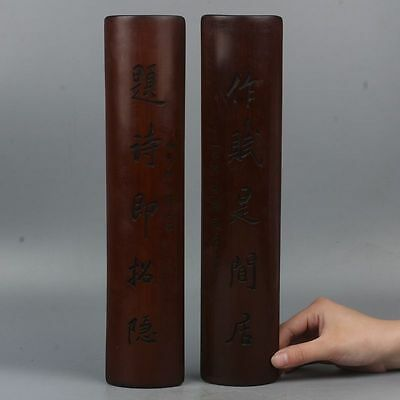 Chinese Exquisite Hand-Carved Text carving bamboo A pair Paperweight