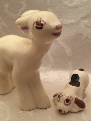 Rio Hondo Figurines Vintage California Pottery Deer Dog Figure Set Lot Of 2