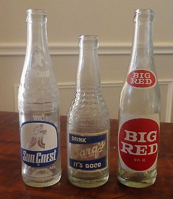 Vintage ACL Soda Bottles - Set of THREE (3) - Sun Crest, Barg's and Big Red